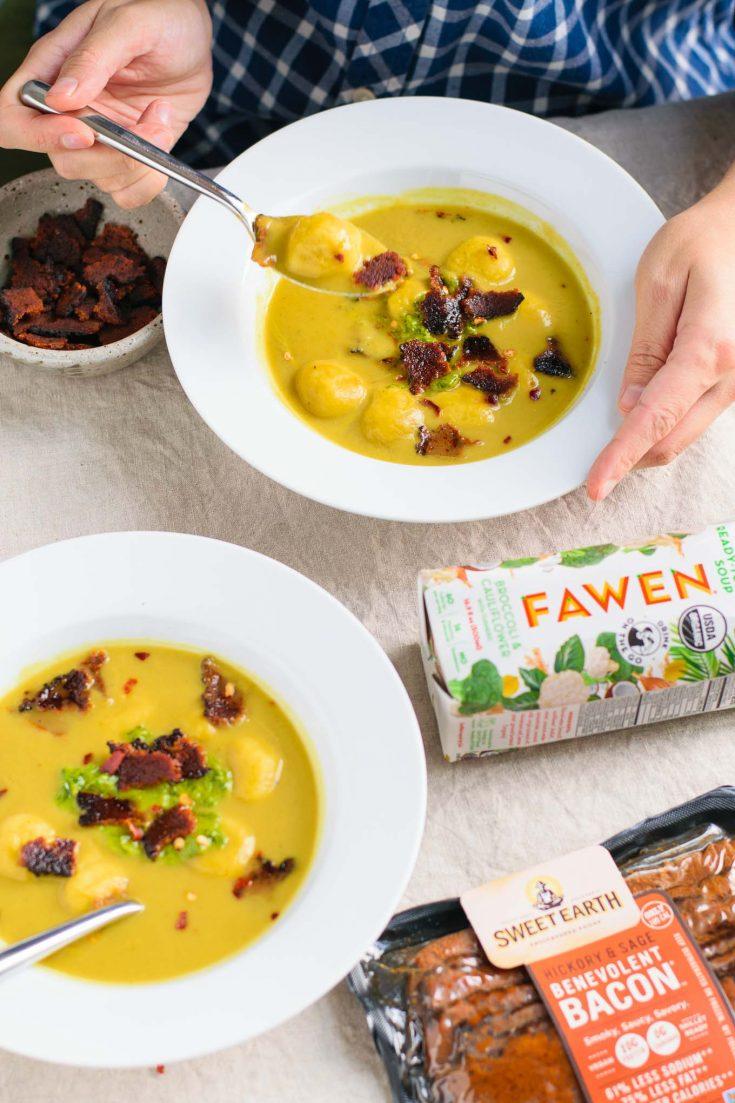Creamy Fawen Broccoli and Cauliflower Soup Potato Dumplings Crispy Sweet Earth Foods Vegan Bacon