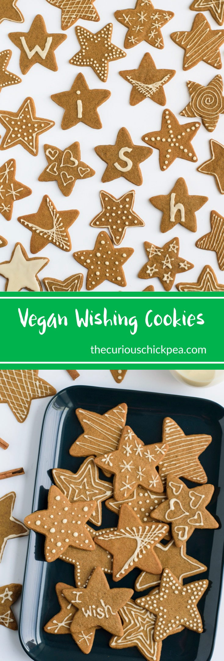 Vegan Wishing Cookie | Swedish vegan wishing cookies are light molasses cookies, spiced with cinnamon, ginger, and nutmeg. Break the cookie into 3 pieces your wish may come true! | thecuriouschickpea.com #vegan #cookies #dessert