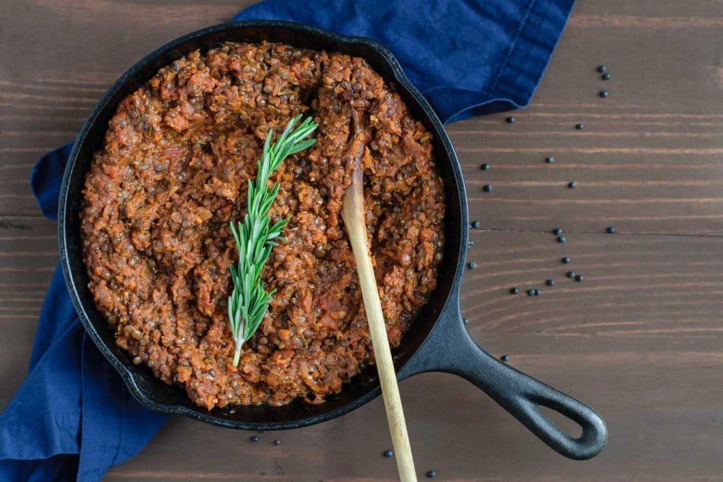 vegan black lentil bolognese