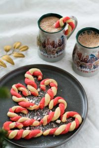 vegan peppermint candy cane cookies with hot chocolate