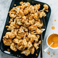 Mustard Roasted Cauliflower with Roasted Red Pepper Sauce
