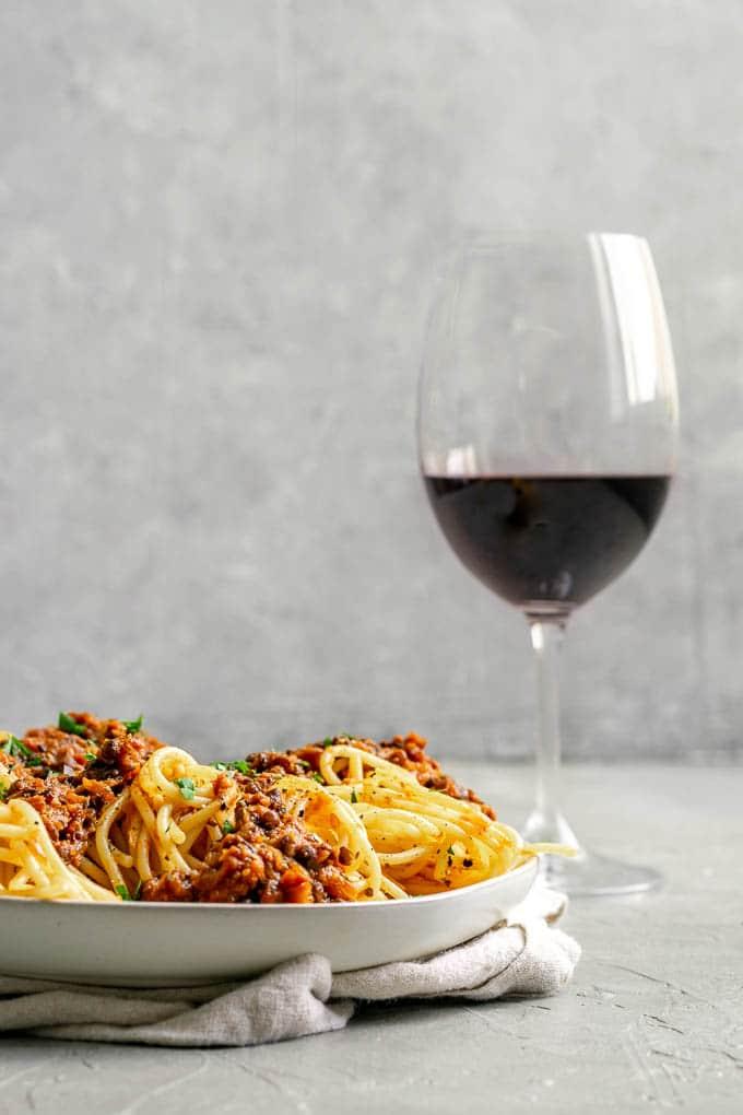 vegan spaghetti black lentil bolognese
