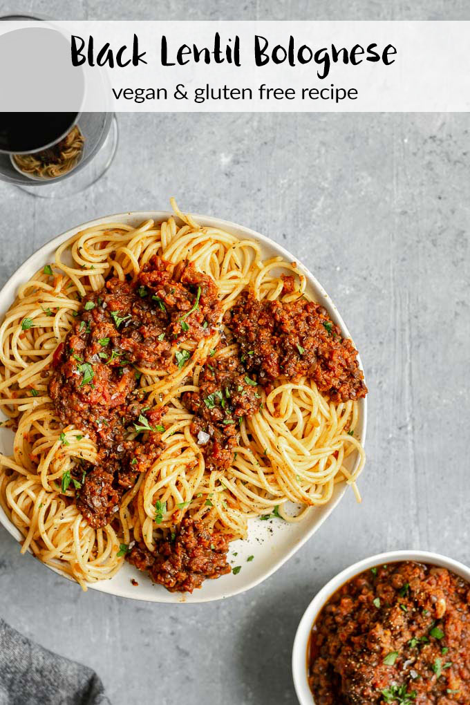 Black Lentil Bolognese | Easy, vegan, gluten free. This bolognese uses black lentils for a meaty texture, and is slowly simmered to bring out the deepest and richest flavors from the sauce. It's even better on the second day! | thecuriouschickpea.com #vegan #bolognese #glutenfree #spaghetti