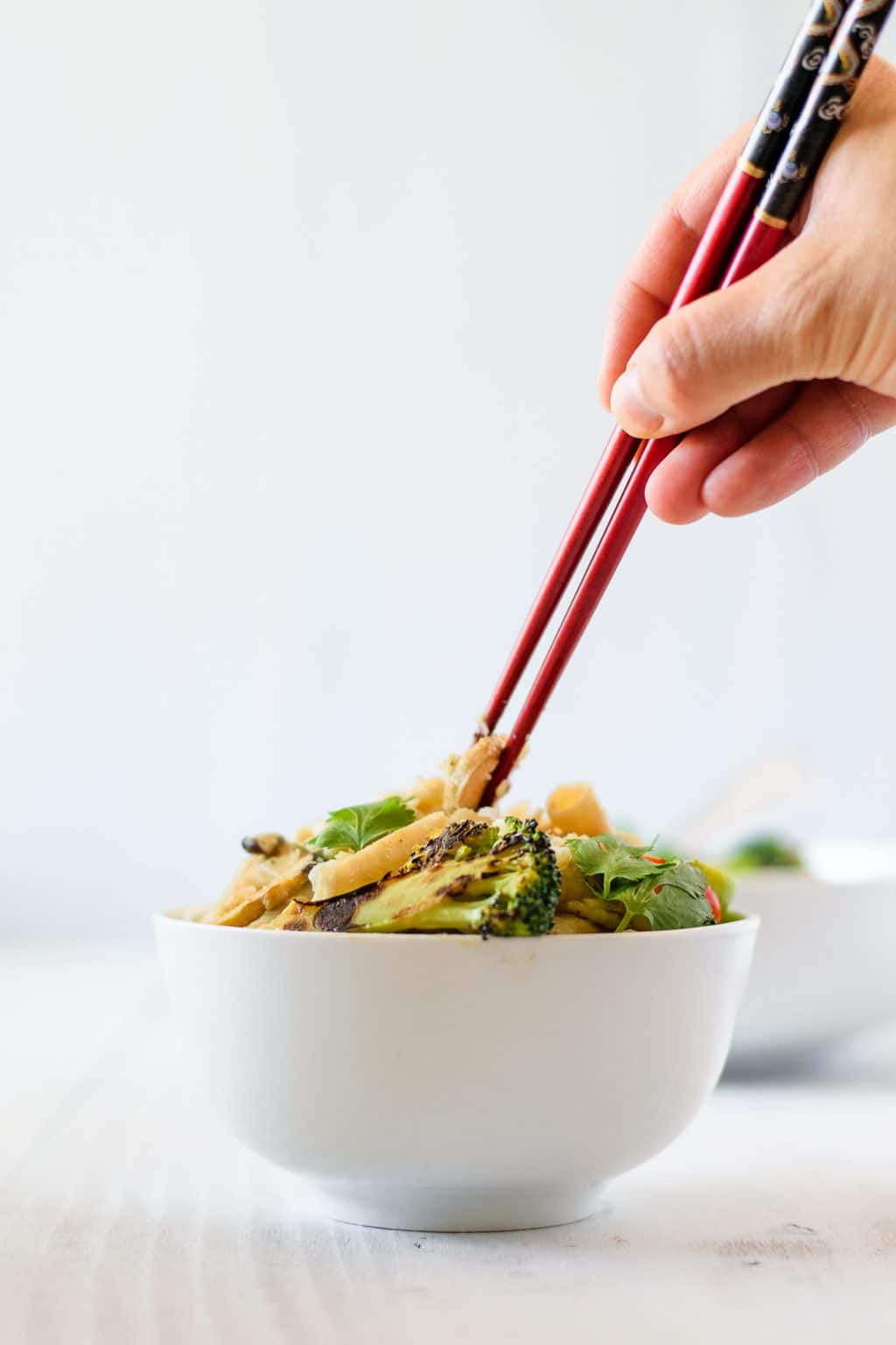 green curry noodles with broccoli and mushrooms