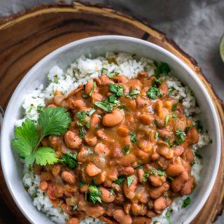 Mexican Pinto Beans and Tomatillo Cilantro Lime Rice