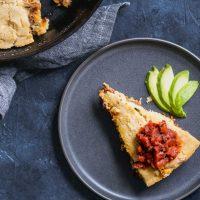 Vegan Chipotle Seitan and Cheese Tamale Skillet Pie