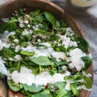 Quinoa, Dill, and Baby Greens Salad with Creamy Lemon Tahini-Yogurt Dressing