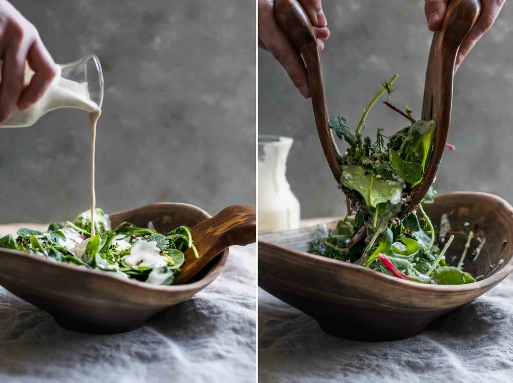 Quinoa Dill and Baby Greens Salad with Creamy Lemon Tahini-Yogurt Dressing