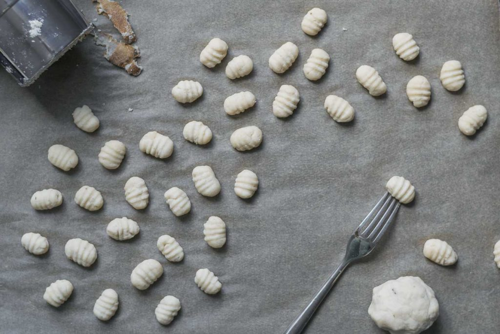 Easy Homemade Vegan Gnocchi, shaped and ready to boil