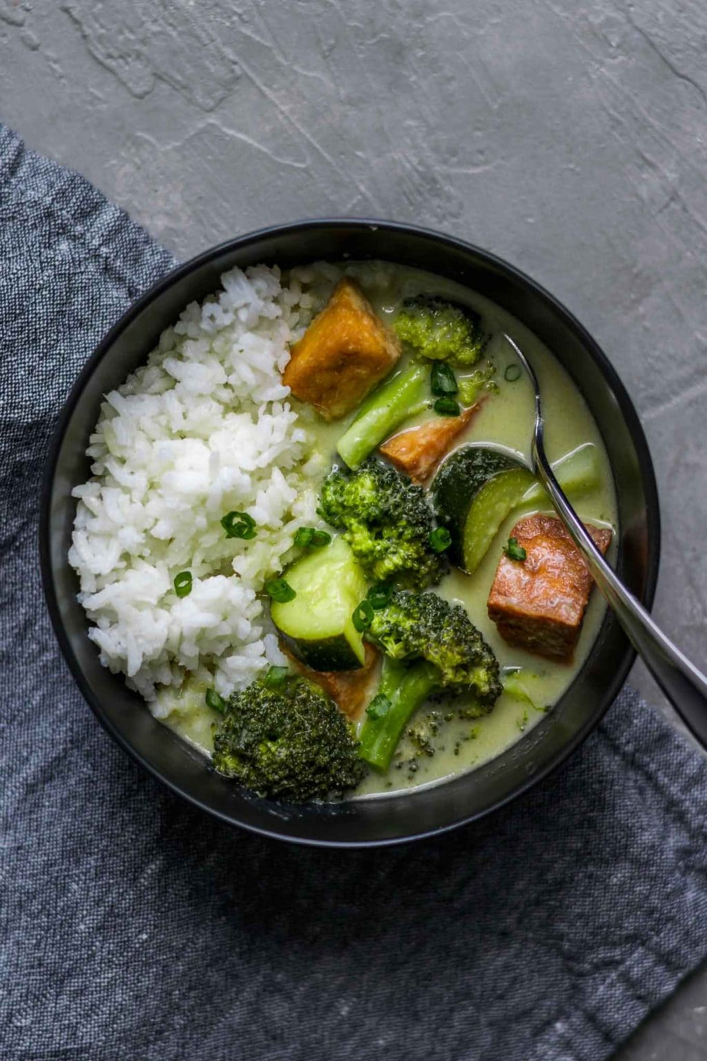 Vegan Thai Green Curry with Tofu, Broccoli, and Zucchini