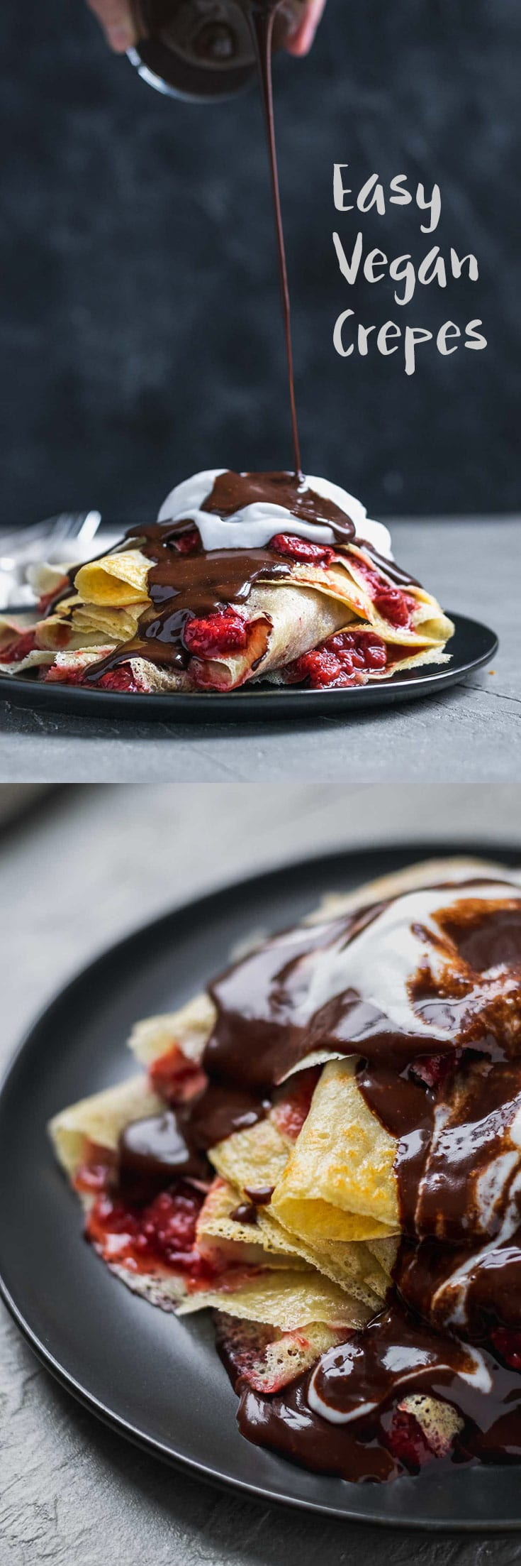 Easy Vegan Crepes | With just 6 ingredients these crepes are so easy to make! They're the perfect base for sweet or savory fillings. Here they are served with a strawberry compote, coconut whipped cream, and a chocolate drizzle. Let your imagination go wild! | thecuriouschickpea.com #vegan #veganbrunch #crepes