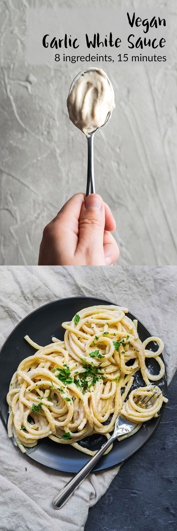 Vegan Garlic White Sauce | A creamy white sauce that's perfect as a base on pizza, as a sauce for pasta, or a dressing for a bowl-style meal, and more! A cashew cream and roux-based vegan sauce. With gluten free and nut free options. | thecuriouschickpea.com #vegan #vegansauce #garlicsauce