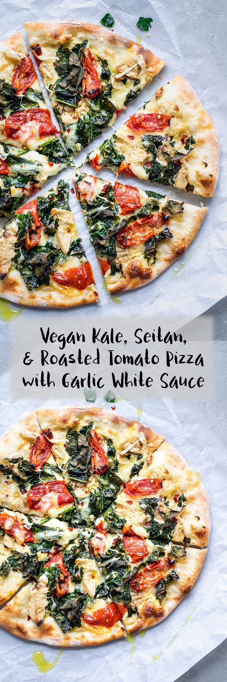 This ultra flavorful vegan pizza has a creamy garlic white sauce base, and is topped with seared seitan chicken, juicy roasted tomatoes, and torn kale which bakes up nice and crispy! | thecuriouschickpea.com #vegan #veganpizza #pizza
