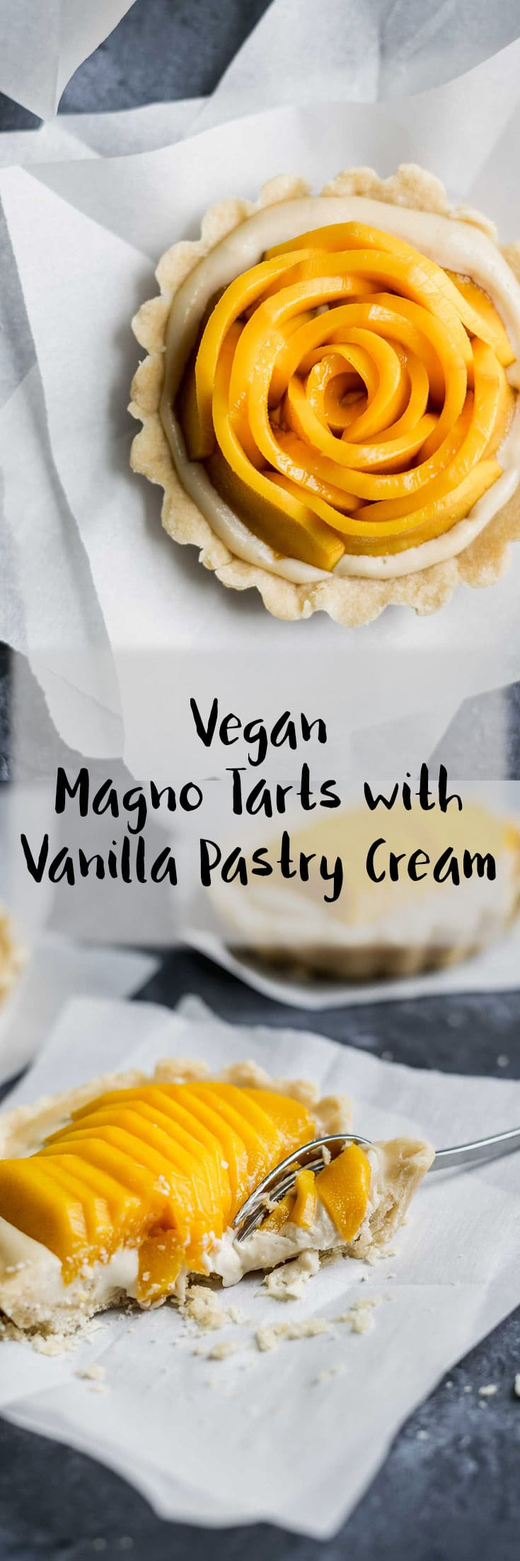 Buttery shortbread crust is filled with a creamy cashew and coconut based pastry cream and topped with fresh cut mango for a delicious sweet vegan treat. | thecuriouschickpea.com #vegan #vegandessert #mangoes #veganrecipes