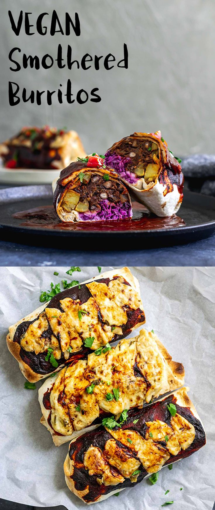 Burritos are filled with homestyle potatoes, cabbage slaw, and delicious easy refried black beans, then smothered with Mexican red chile sauce and vegan cheese and baked until hot. | thecuriouschickpea.com #vegan #veganmexican #burrito #veganburrito
