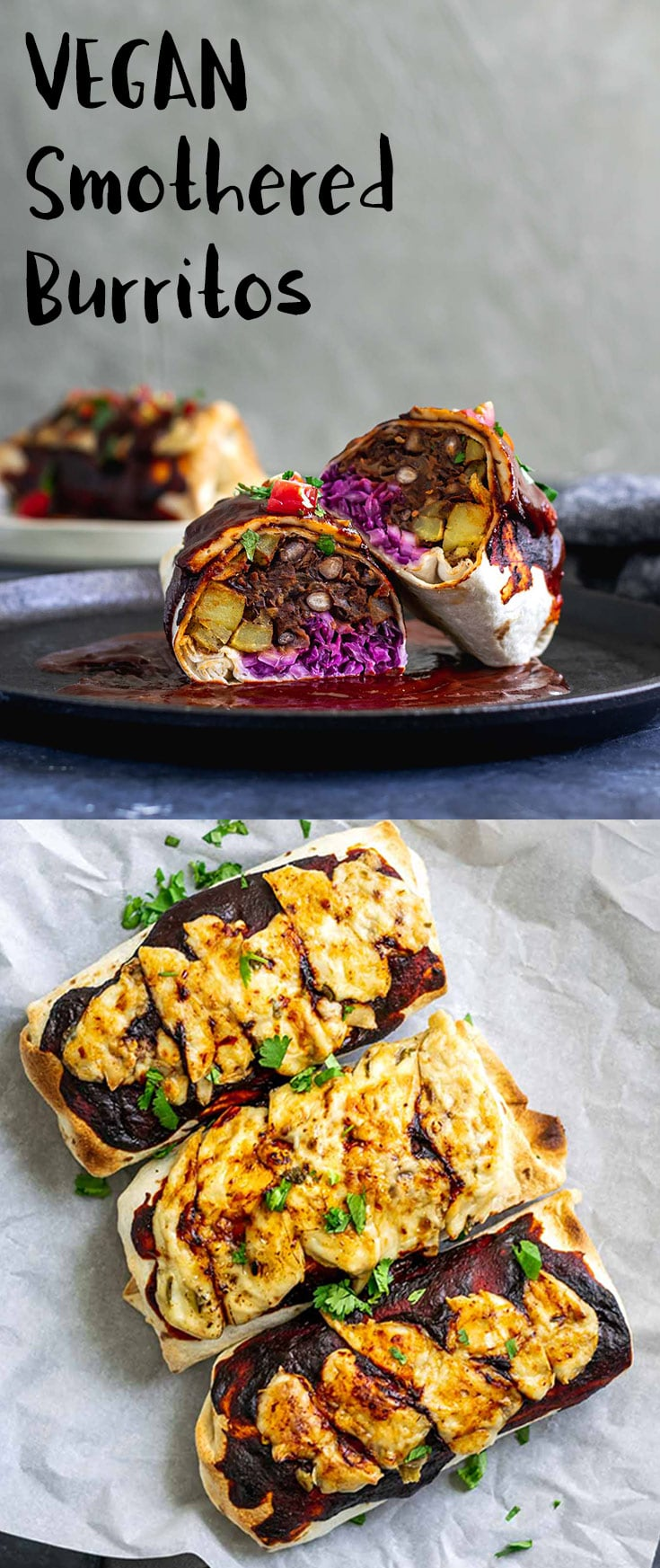 Burritos are filled with homestyle potatoes, cabbage slaw, and delicious easy refried black beans, then smothered with Mexican red chile sauce and vegan cheese and baked until hot. | thecuriouschickpea.com