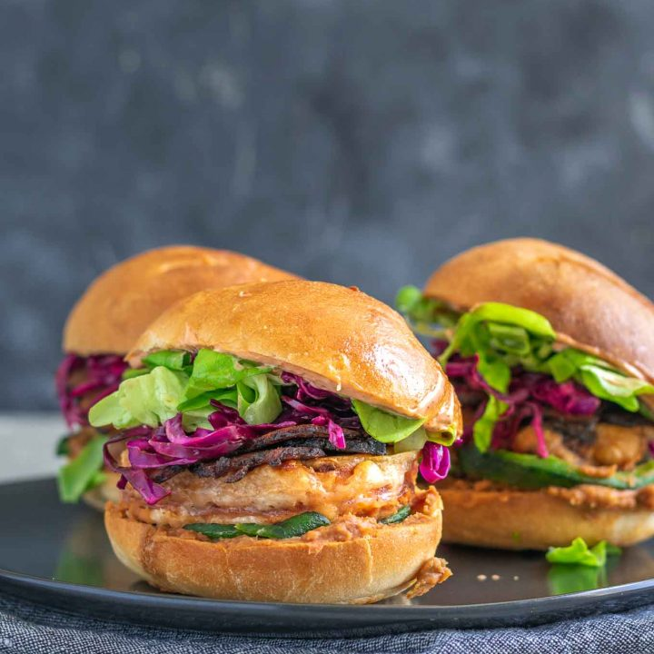 Vegan battered tofu Mexican tortas, 3 on a plate