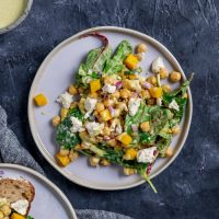 Curried Chickpea and Mango Salad with Vegan Queso Fresco