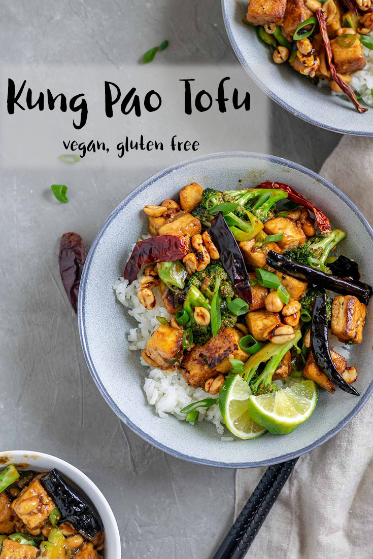 Crispy fried tofu is smothered in a kung pao stir fry sauce with roasted peanuts and charred broccoli in this quick and easy vegan Americanized Chinese stir fry. | thecuriouschickpea.com #vegan #stirfry #glutenfree #kungpao #tofu