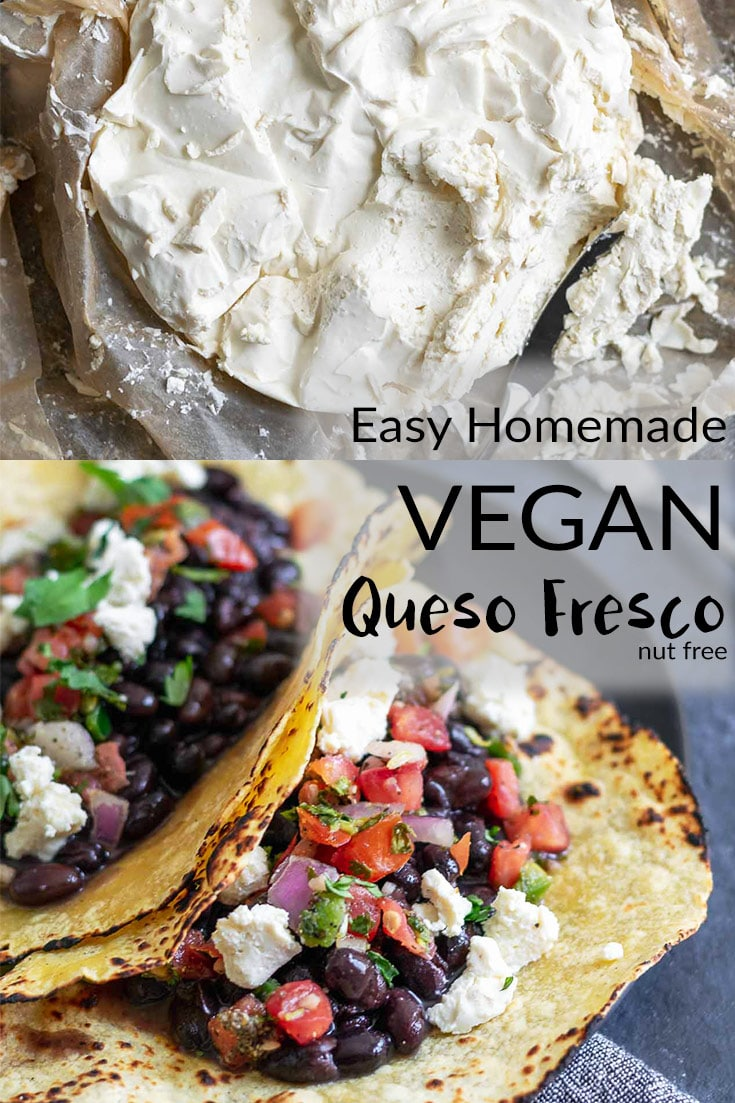 A crumbly, creamy, and fresh tasting vegan queso fresco. Perfect for topping salads, sprinkling on tacos, spreading on toast, and more! It's quick and easy to make and so delicious. | thecuriouschickpea.com #vegan #vegancheese #glutenfree #dairyfree #nutfree