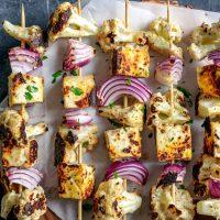Afghan Cauliflower and Tofu Tikka Kebab Skewers
