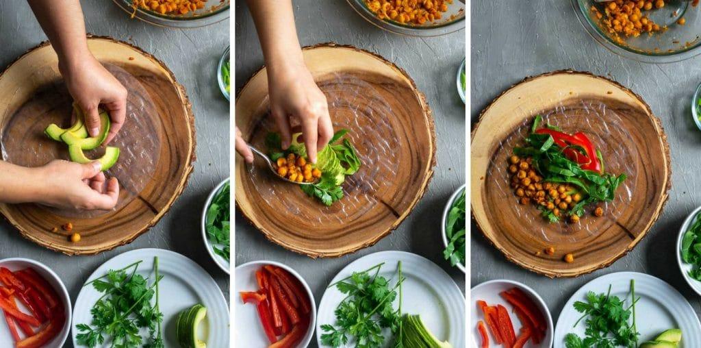 Filling buffalo chickpea salad wraps