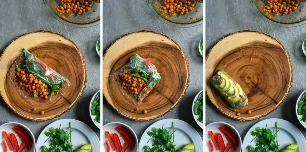 Rolling buffalo chickpea salad wraps