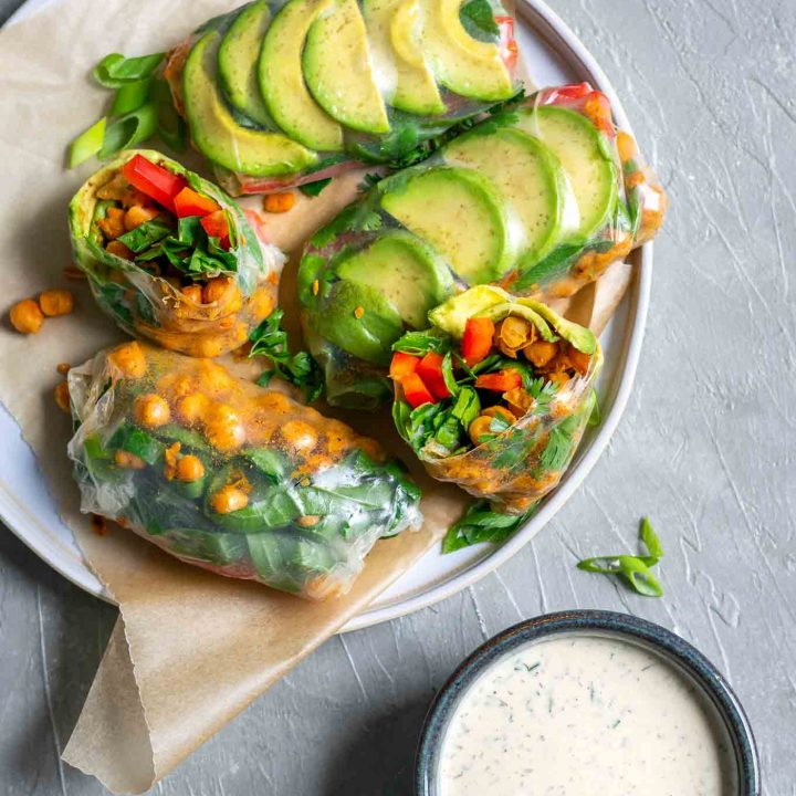 Buffalo Chickpea Rice Paper Wraps with Tahini Ranch Dip