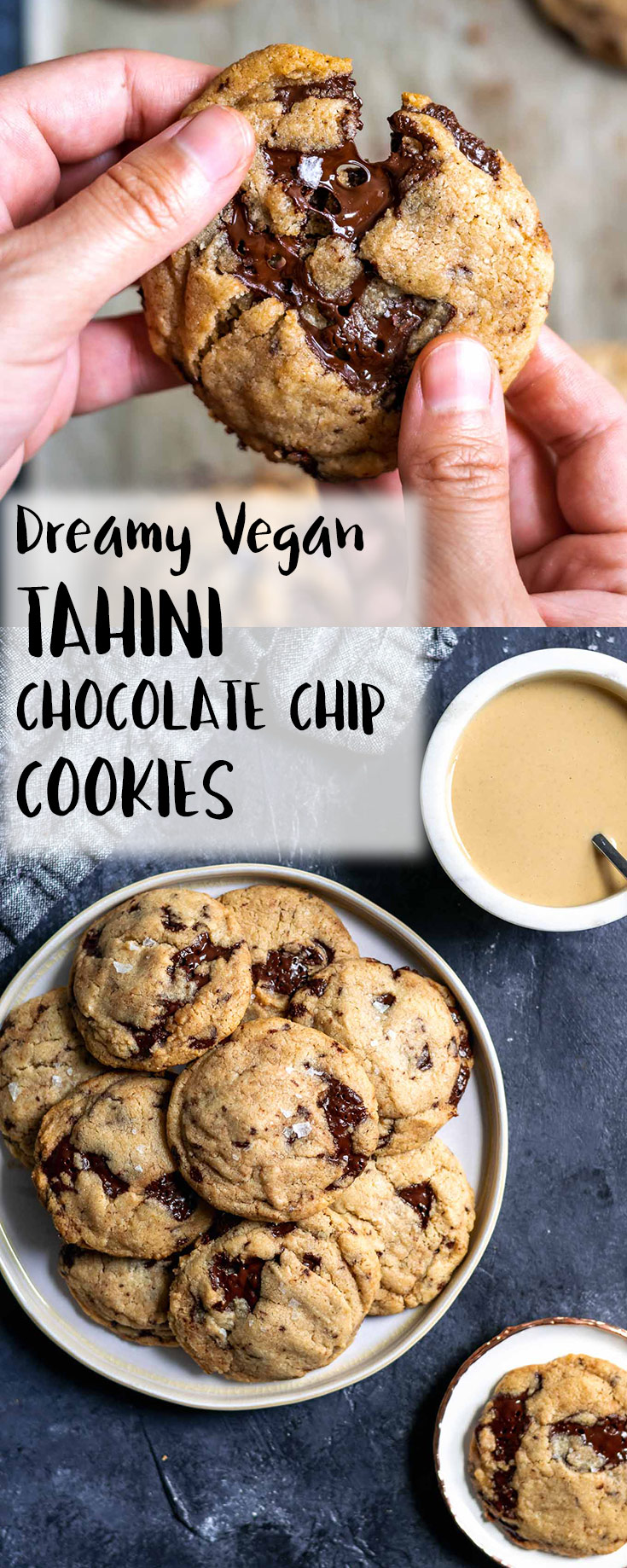 These chewy vegan tahini chocolate chip cookies are laced with chunks of dark chocolate that melt into dreamy puddles in the oven. Sesame paste adds a nice nuttiness, and deepens the bittersweet flavors of the dark chocolate. They're bound to become your new favorite cookie! | thecuriouschickpea.com #vegan #dessert #cookies #tahini