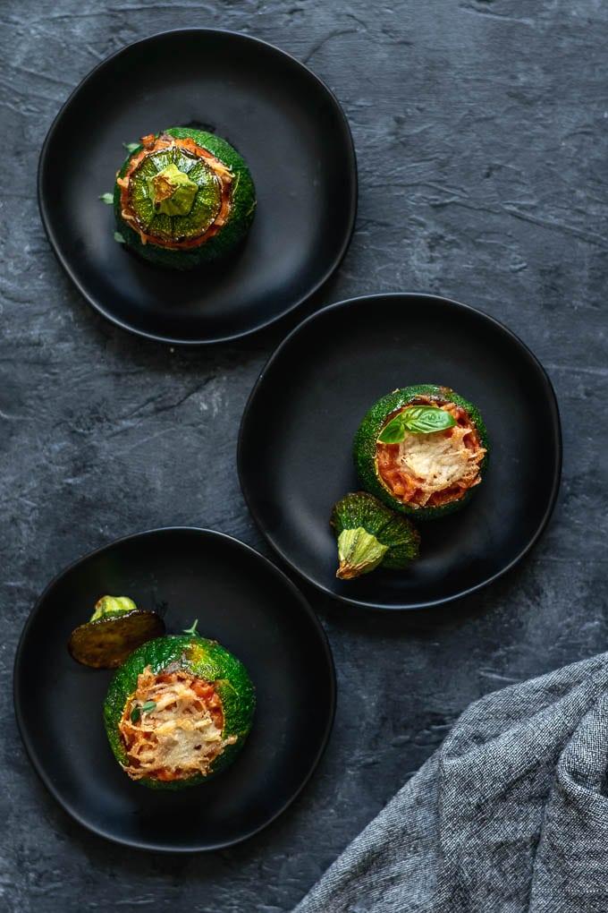 creamy vegan barley risotto stuffed zucchini