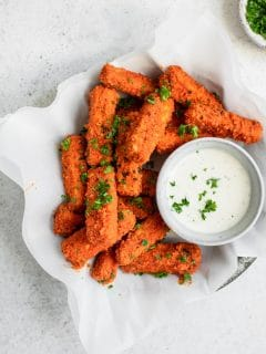 vegan buffalo tofu wings with ranch for dipping