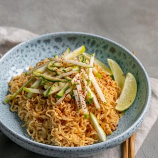 gochujang peanut noodles with patty pan squash