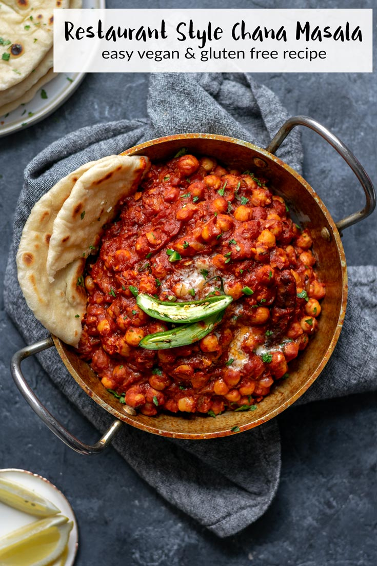 This authentic restaurant style chana masala recipe is incredibly easy to make and so flavorful and delicious. Serve it with basmati rice and garlic naan. | thecuriouschickpea.com #vegan #indianfood #curry #chanamasala #sponsored