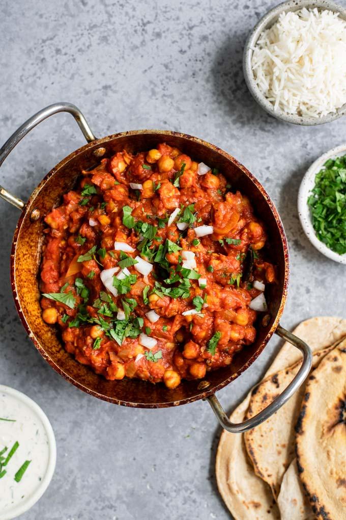 chana masala with chapait and rice