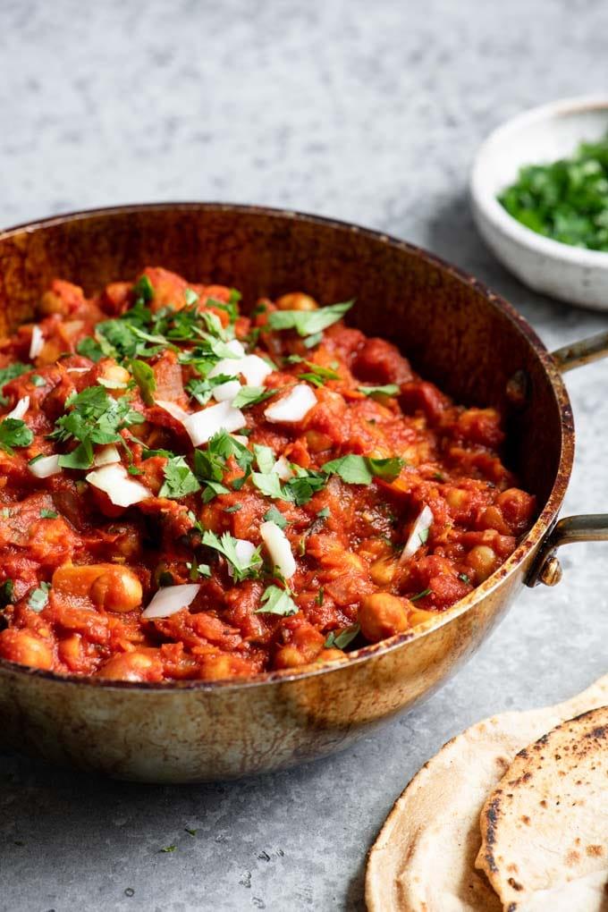 chana masala served in bowl