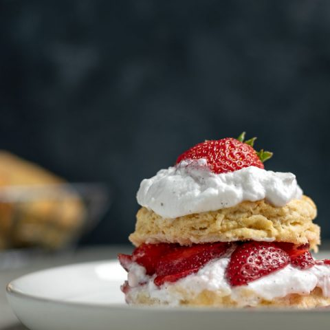 Vegan Strawberry Shortcake with Brandy Soaked Strawberries and Vanilla Bean Coconut Whipped Cream
