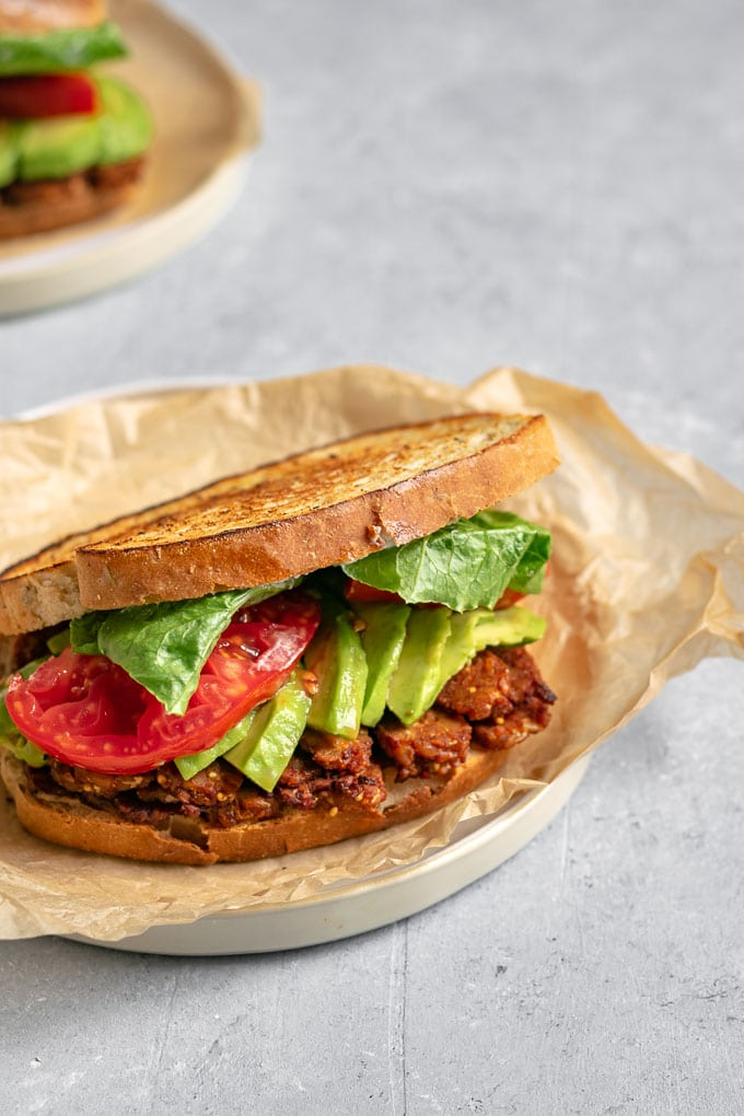 vegan tempeh BLT sandwiches with avocado