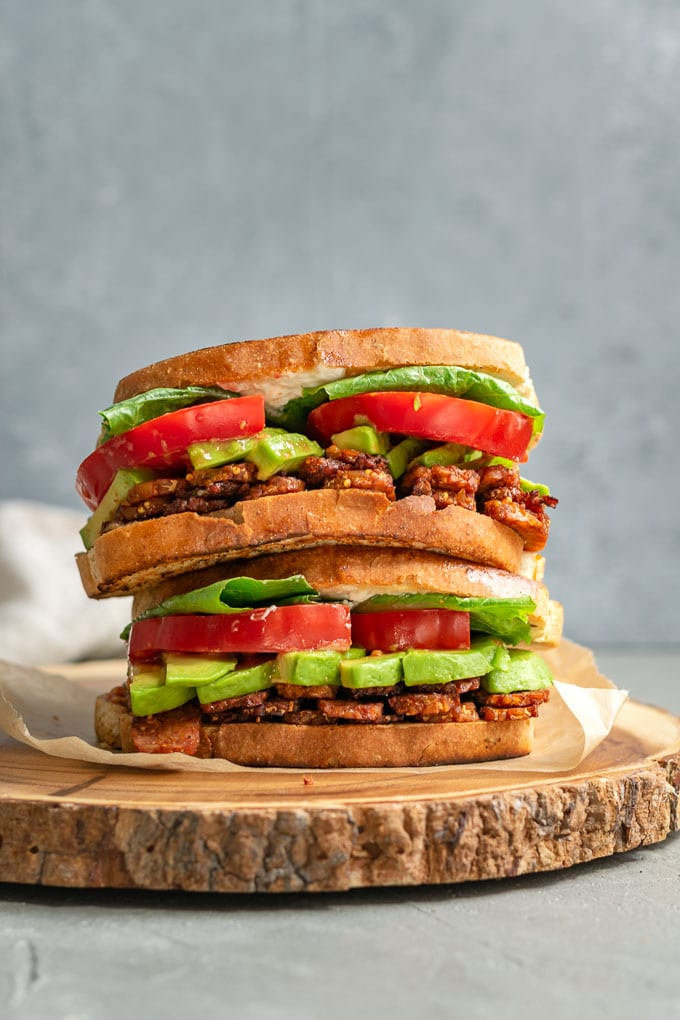 vegan tempeh BLT sandwiches stacked