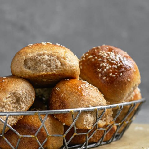 soft whole wheat dinner rolls straight on shot