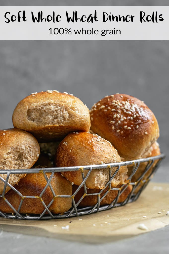 These soft whole wheat dinner rolls are made with 100% whole wheat flour  and bake