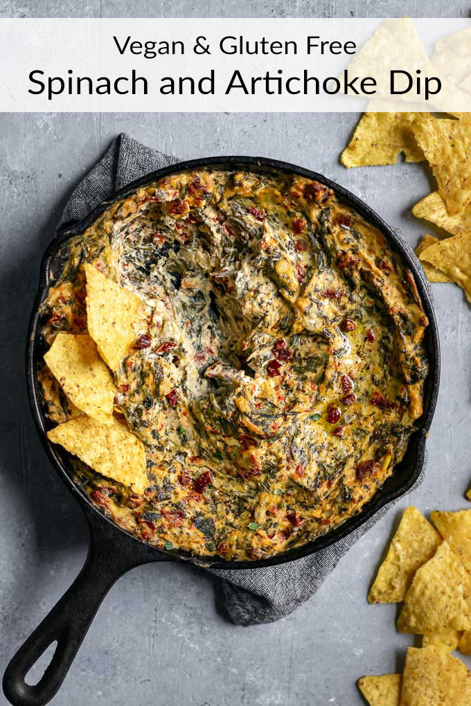 This delicious baked vegan artichoke spinach dip comes together in no time! It's easy to make, healthy-ish, super flavorful, and indulgent tasting. | thecuriouschickpea.com #vegan #glutenfree #spinachartichokedip