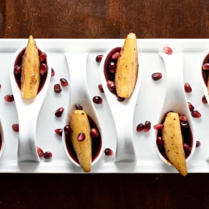 Pomegranate Sangria Gels with Vegan Brown Butter Brandy Caramelized Pears