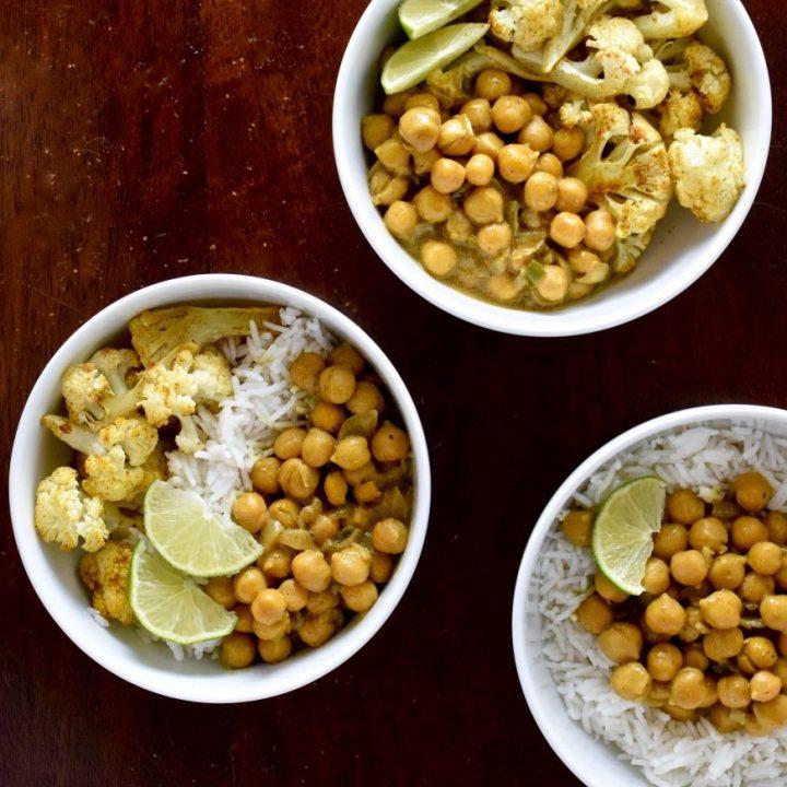 Golden Chickpeas and Curried Cauliflower