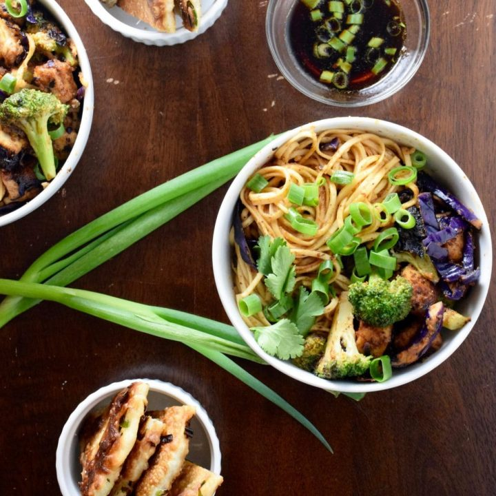 Tofu and Udon Noodle Almond Butter Stir Fry