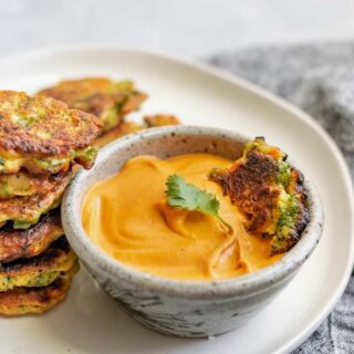 vegan broccoli fritters with smokey red pepper buffalo cheddar dip