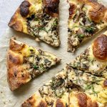Vegan Caramelized Mushroom Pizza with a Garlic White Sauce, Caramelized Onions, and Fresh Rosemary