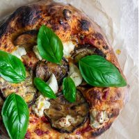 Roasted Eggplant Pizza with Almond Ricotta and Chili Oil