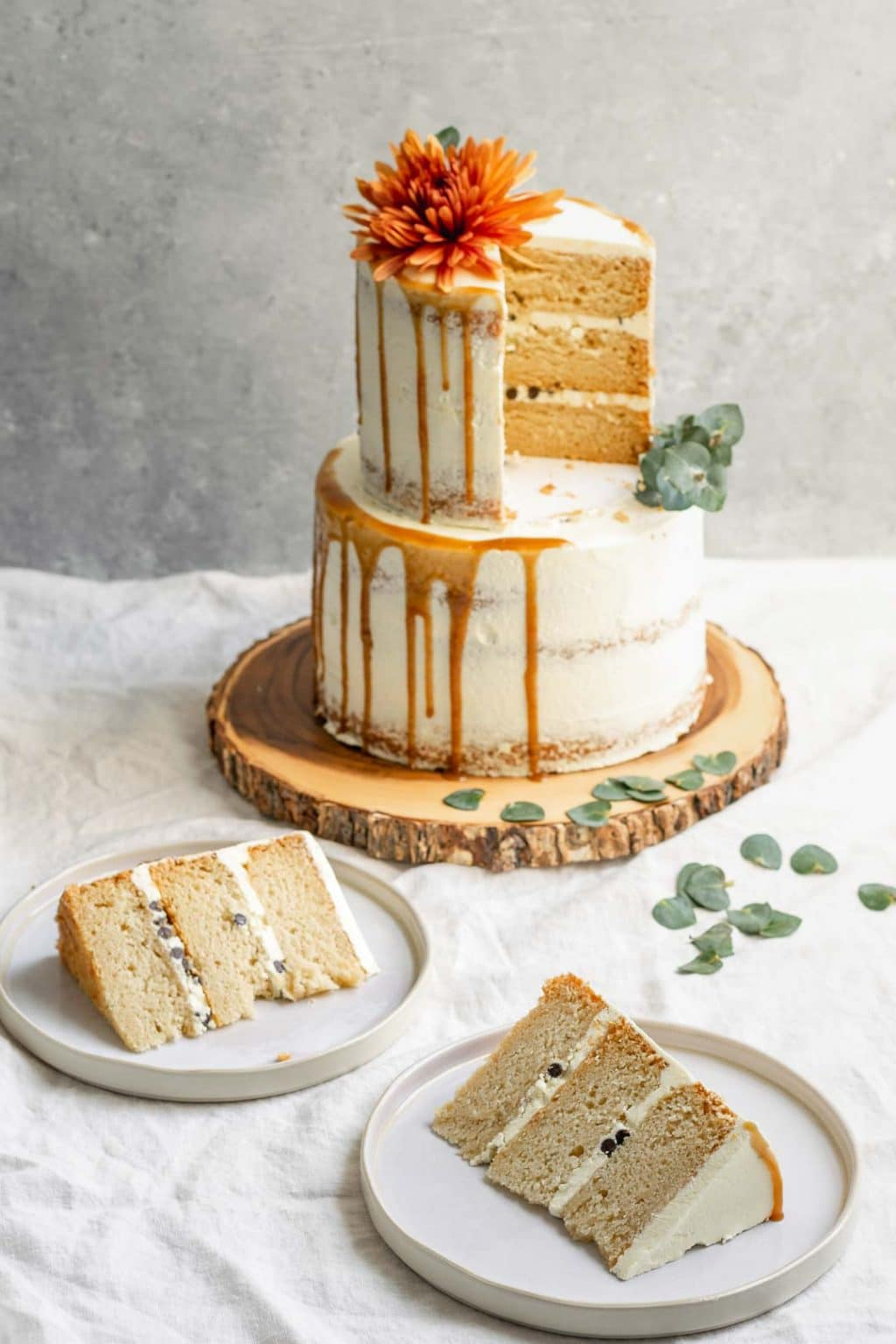 Two slices from the top tier of a 2-tier vegan vanilla cake