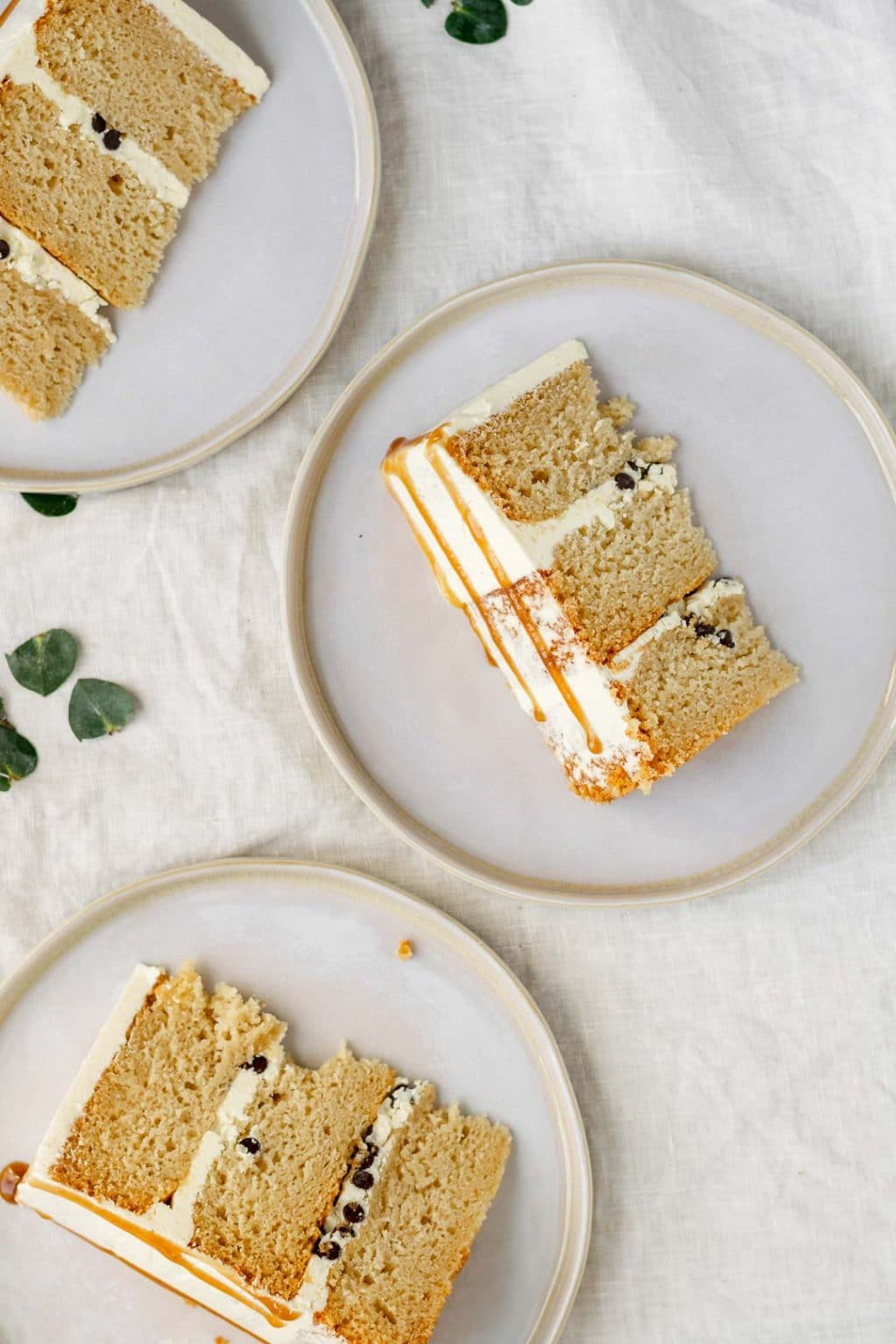 overhead view of the vegan vanilla cake slices