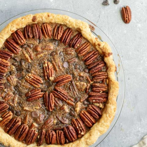 Vegan Chocolate Bourbon Pecan Pie